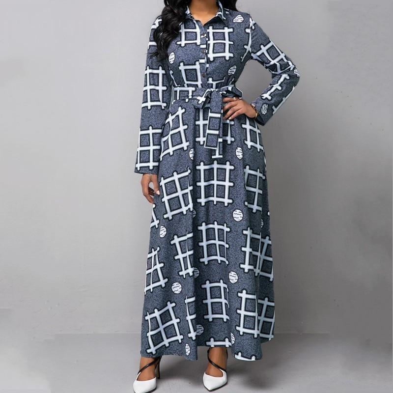 Plus Size Dashiki Long Maxi Dress Slim Fit Lapel Bazin Riche African Clothing Long Sleeve Dresses Africa Dresses for Women 5XL