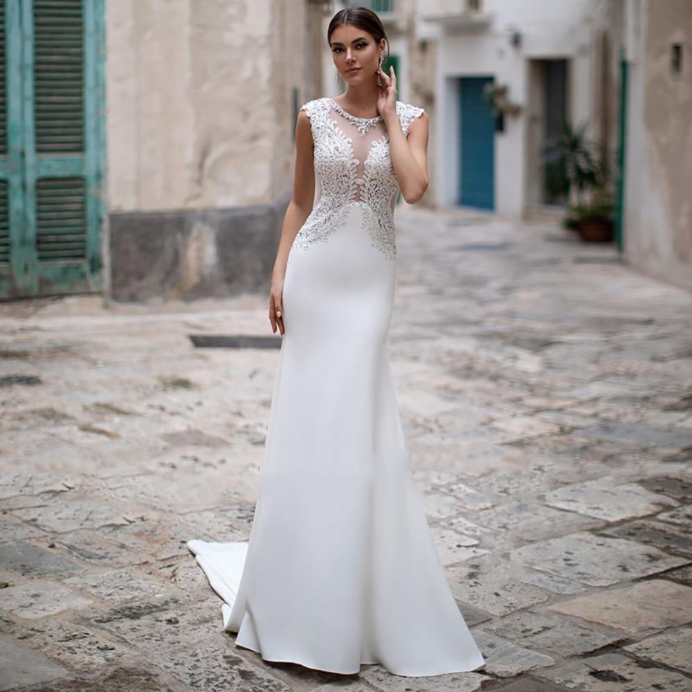 Eightree Mermaid Wedding Dresses Beach Boho Luxury Lace Beading Trumpet Bridal Dress Plus Size O-Neck Satin Wedding Gowns