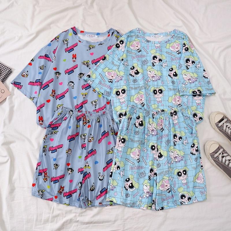 Powerpuff Police Girls Pajama Set Summer Harajuku Kawaii Cartoon Full Printed Pyjamas Homewear Fashion Clothes