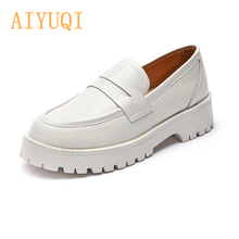 AIYUQI Spring Shoes Female British Style 2021 New Thick-soled College Style Casual Loafers Genuine Leather Fashion Shoes Girls cheap Basic Square heel CN(Origin) Split Leather Round Toe 0-3cm Med (3cm-5cm) Fits true to size take your normal size Leisure