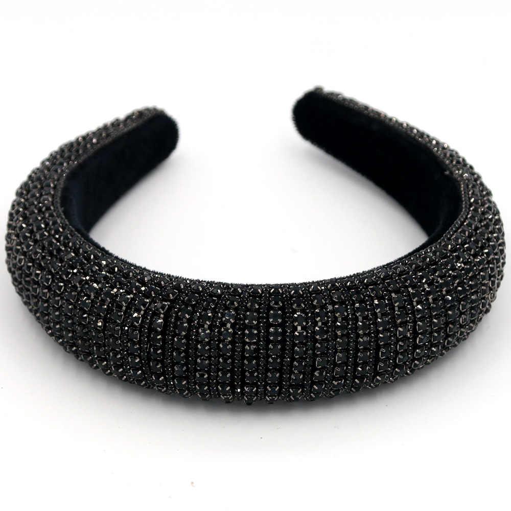 אופנה לוח מרופד Rhinestones סרטי ראש לנשים מלא קריסטל לוקסוס Hairbands שחור לבן שיער חישוק אישה סרטי ראש