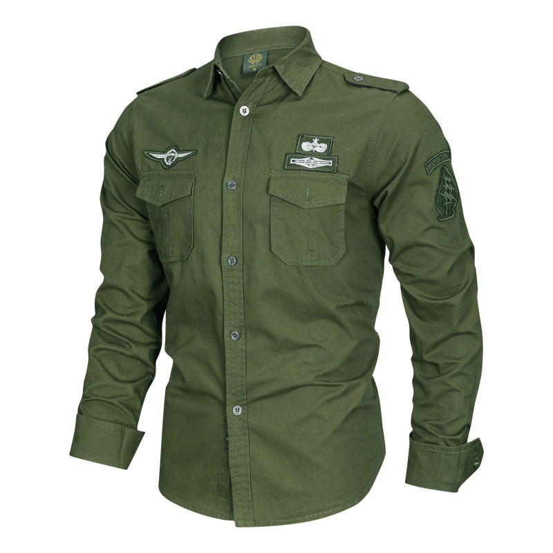 MORUANCLE <font><b>Men</b></font> Casual Cargo Shirts With Epaulets Military Style Tactical Shirts Tops Male Flight Bomber <font><b>Clothing</b></font> <font><b>Plus</b></font> <font><b>Size</b></font> M-<font><b>6XL</b></font> image