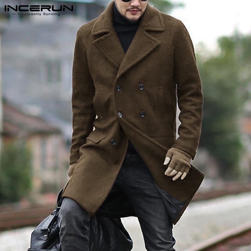 Winter Men Coats Faux Wool Blends Lapel Long Sleeve 2020 Streetwear Solid Fashion Mens Jackets Double Breasted Overcoats INCERUN