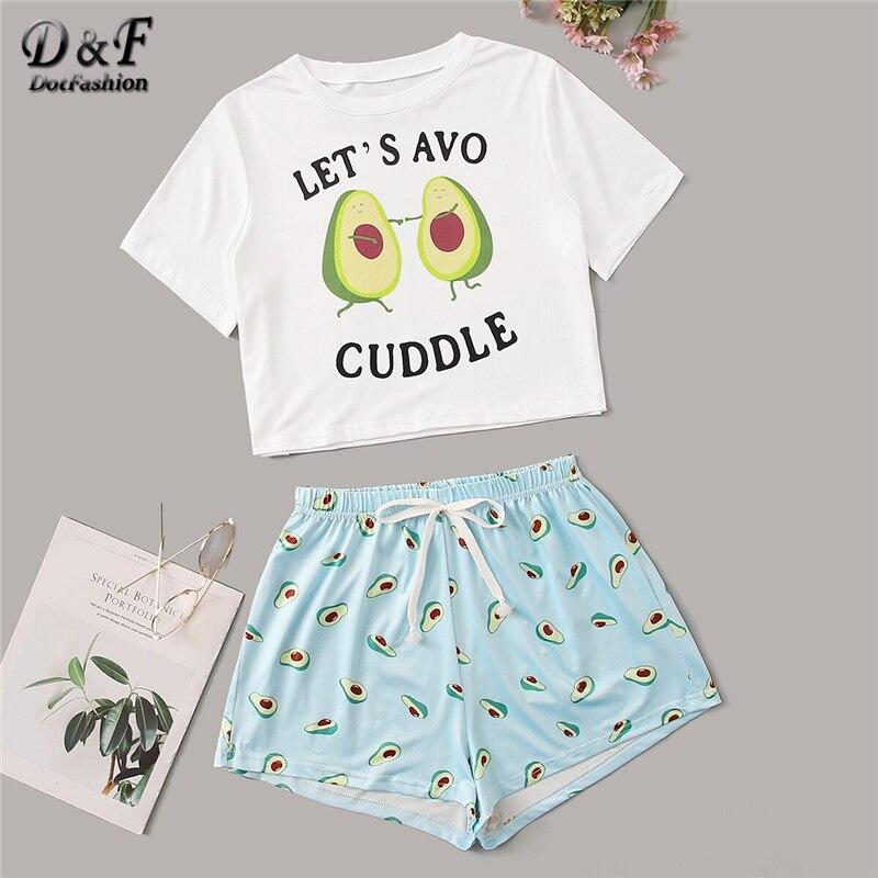 Dotfashion Round Neck Print Cartoon Top And Bow Front Shorts Pajama Set  2019 New Woman Short Sleeve Casual Pajama Set