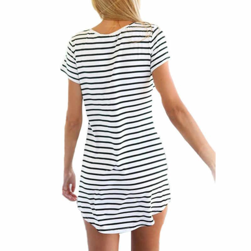 جديد إمرأة س الرقبة قصيرة الأكمام مخطط فضفاض فستان مصغر فستان الشمس حجم كبير المرأة شاطئ فستان صيفي أسود/أبيض S-4XL