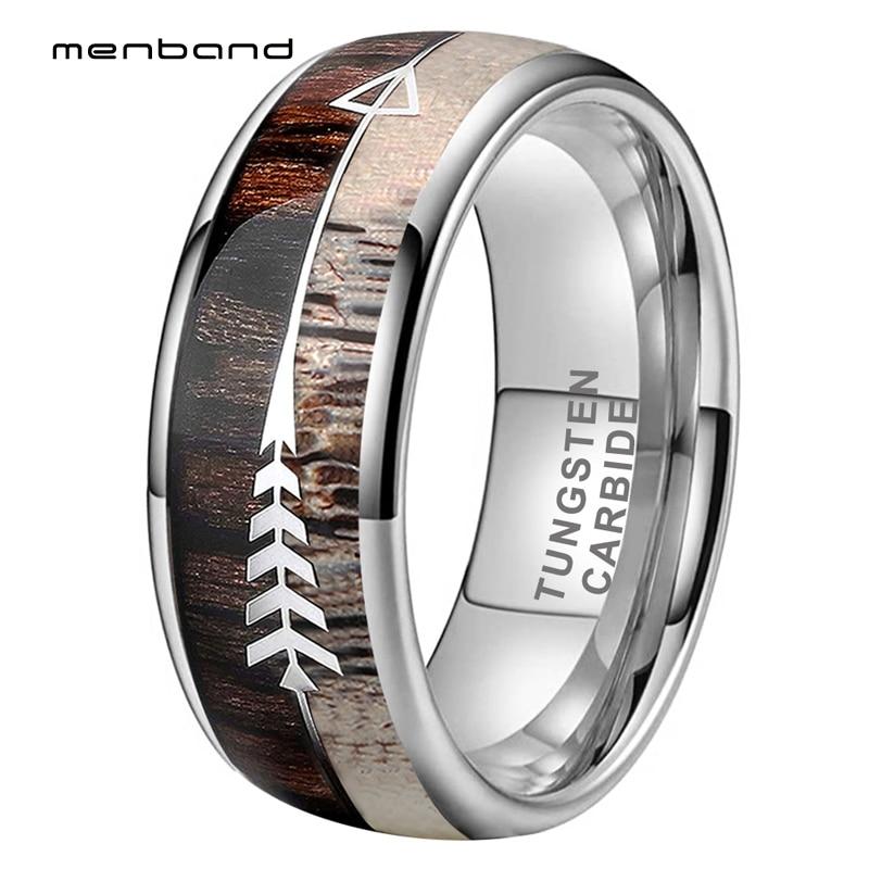 Antler Ring Men Women Wedding Band Tungsten Ring With Zebra Wood Antler Arrows Inlay 8MM Comfort Fit