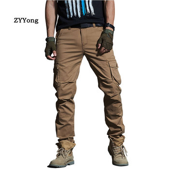 Fashion Men Military Cargo Pants Multi-Pockets Breathable Motion Casual Trousers Khaki Overalls Jogger Camouflage Pants Cotton
