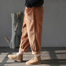 Baggy Corduroy Pants Elastic Waist Warm Loose Casual Pants Women Vintage Wide Leg Hip Hop Streetwear Joggers Thicken Trousers(China)