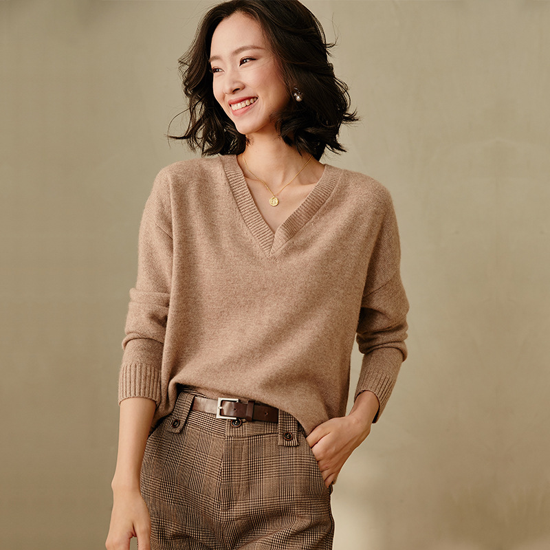 Women's Cashmere Wool Sweaters Pullover Long Sleeve Plus Size Loose Female Camel V Neck Knitwear 2020 Autumn Winter Free Ship