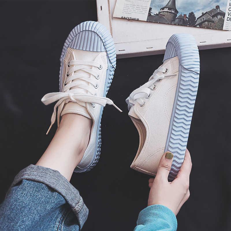 Toile femmes chaussures automne nouveau 2019 mode tendance baskets couleurs mélangées plat loisirs sauvage rétro étudiant peu profond tissu chaussures femmes