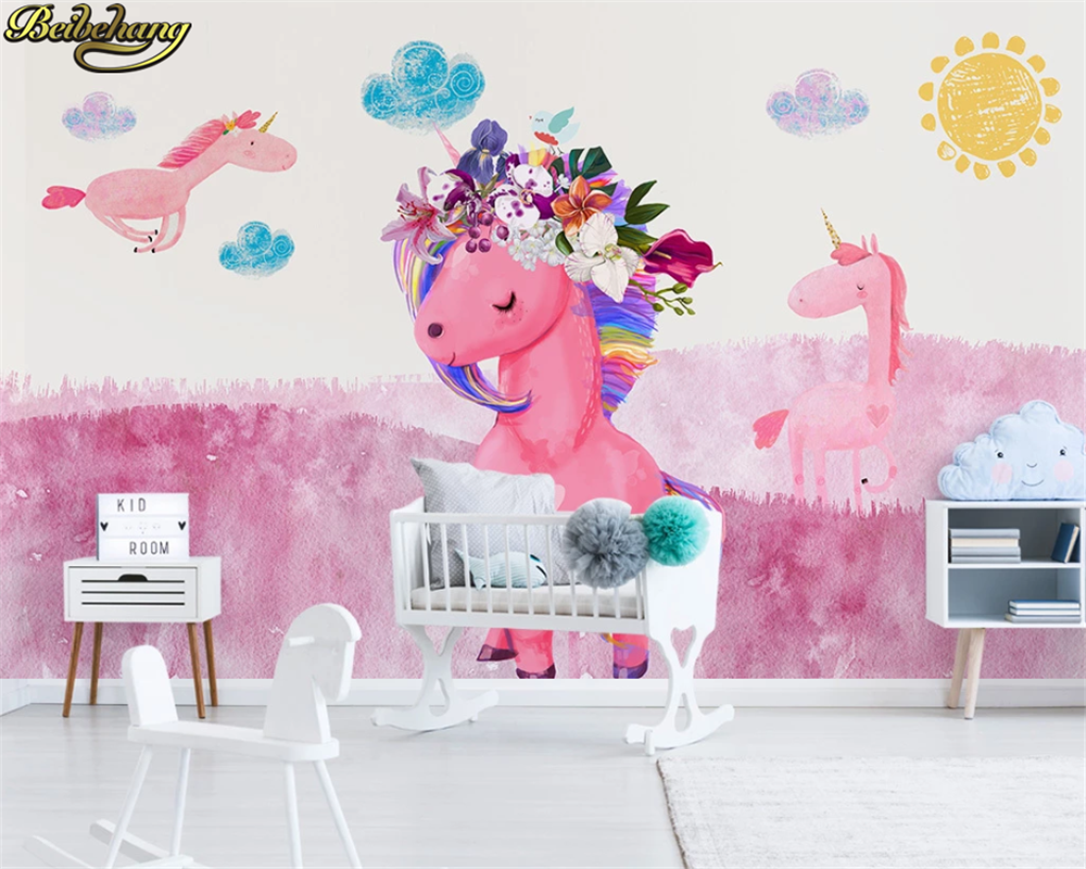 Beibehang Custom Wallpaper Mural Nordic Modern Minimalist Hand Painted Pink Unicorn Children's Room Background Wall Paper