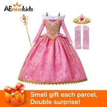 Fancy Party księżniczka Aurora sukienka dziewczyny śpiąca królewna kostium dla dzieci różowa suknia balowa świąteczne urodziny kostiumy księżniczki tanie tanio COTTON Mesh Połowy łydki O-neck REGULAR Krótki Nowość Pasuje prawda na wymiar weź swój normalny rozmiar Kwiaty Drukuj