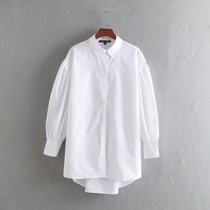2020 New Women Black White Color Casual Loose Long Smock Blouse Female Puff Sleeve Chic Poplin Shirt Brand Femininas Tops LS6519