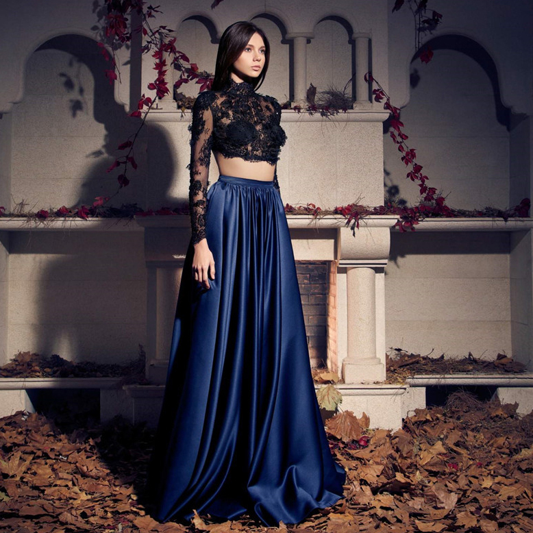 Navy Blue Black lace Two Piece High Neck Long Sleeve Prom vestido 15 anos 2 em 1 Party Abendkleider Quinceanera Dresses image