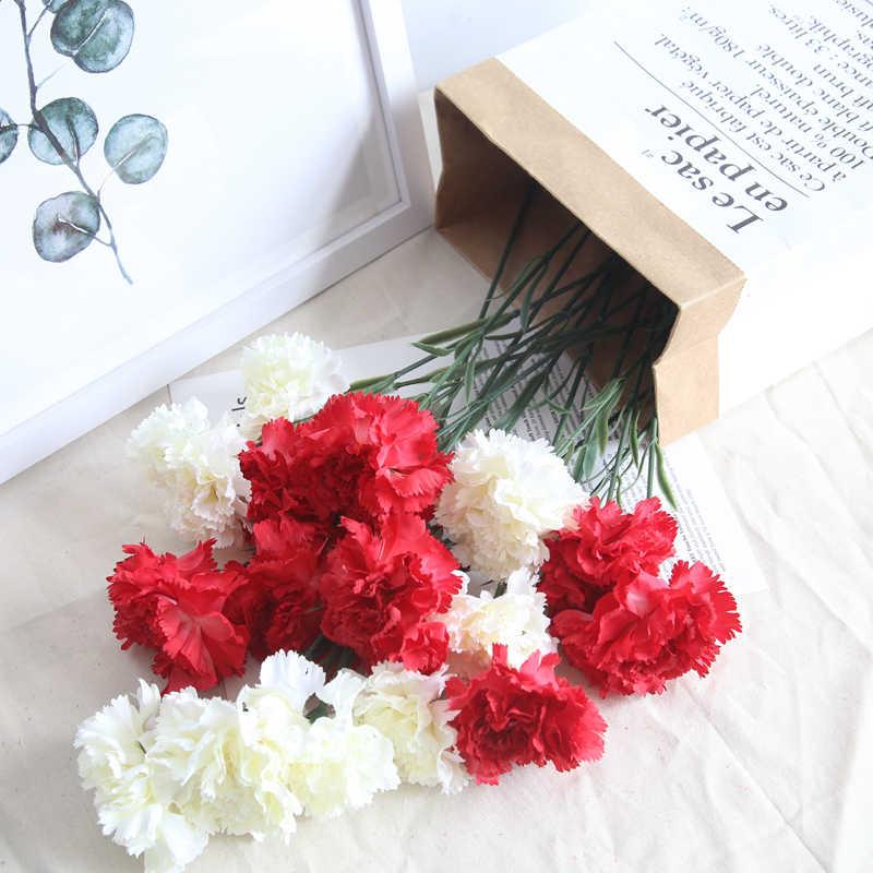 1 PC Bunga Anyelir Hari Ibu Hari Guru Thanksgiving Kartu Hadiah Simulasi Mawar Bunga Sutra Karangan Bunga Kemasan