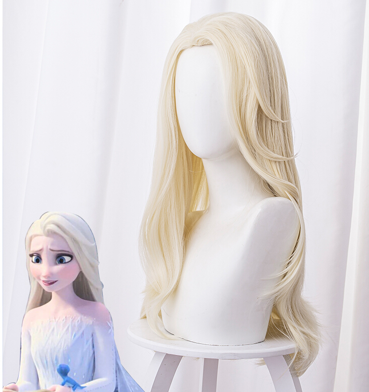 Halloween Party Cosplay Frozen 2 Elsa Wig Adult Princess Elsa Cosplay Wigs 65cm Straight Heat Resistant Synthetic Hair  Wigs
