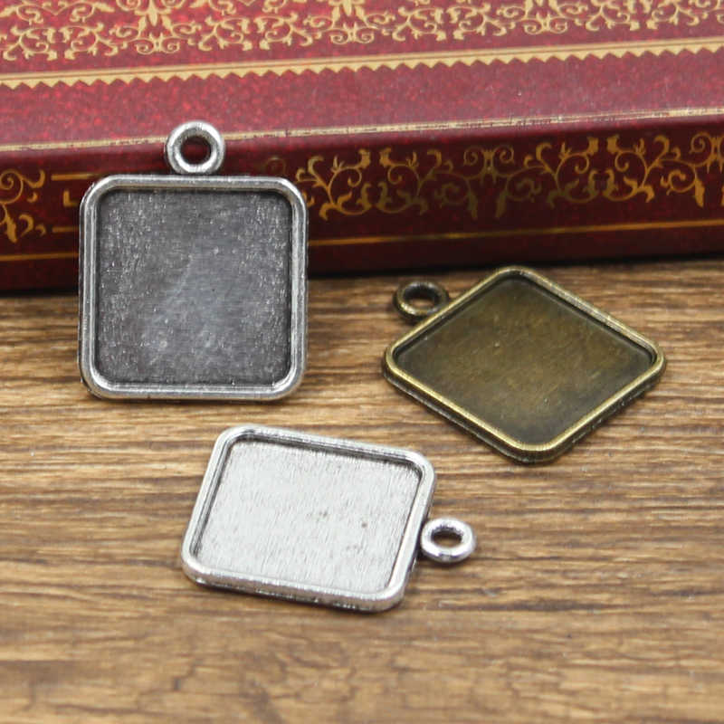 12cs Fit 15mm square simple Glass Cabochon Base Setting Hot Antique Silver Bronze Color Pendant Tray For Jewelry DIY Making