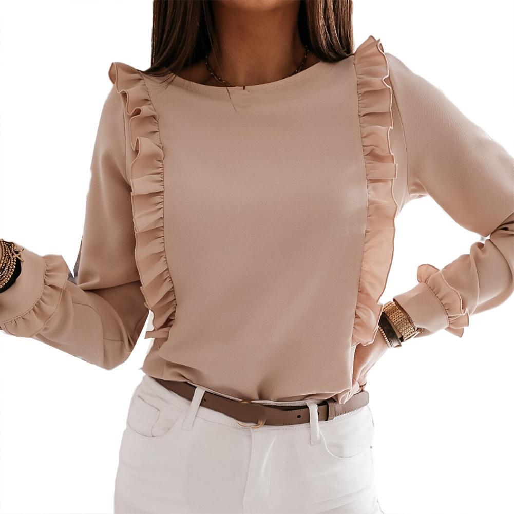 Women Summer Shirt Casual Solid Short Sleeve Shirt Ruffle Top Women Solid Color Long Sleeve Ruffled Edge Back Shirt Women Top