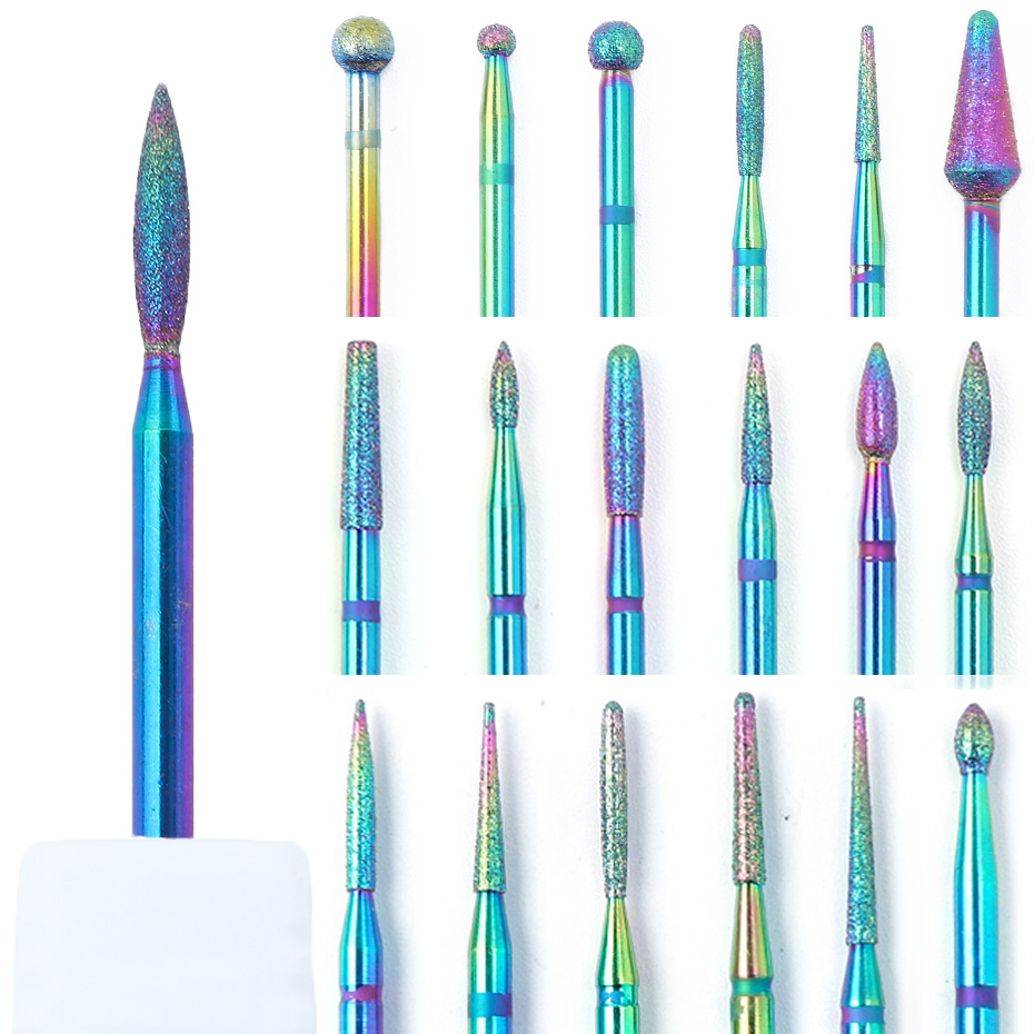 1pc Diamond Rotary Nail Drill Bit Rainbow Milling Cutter Electric Manicure Chameleon Carbide Cuticle Burr Nail Art Tool JI1514-1