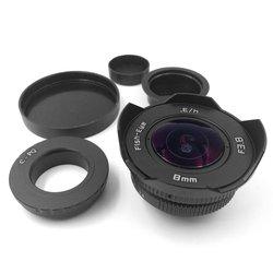 Portable Black Fisheye Lens 8Mm F3.8 Fisheye Super Wide-Angle C-Port Lens For Olympus / Sony Micro Single