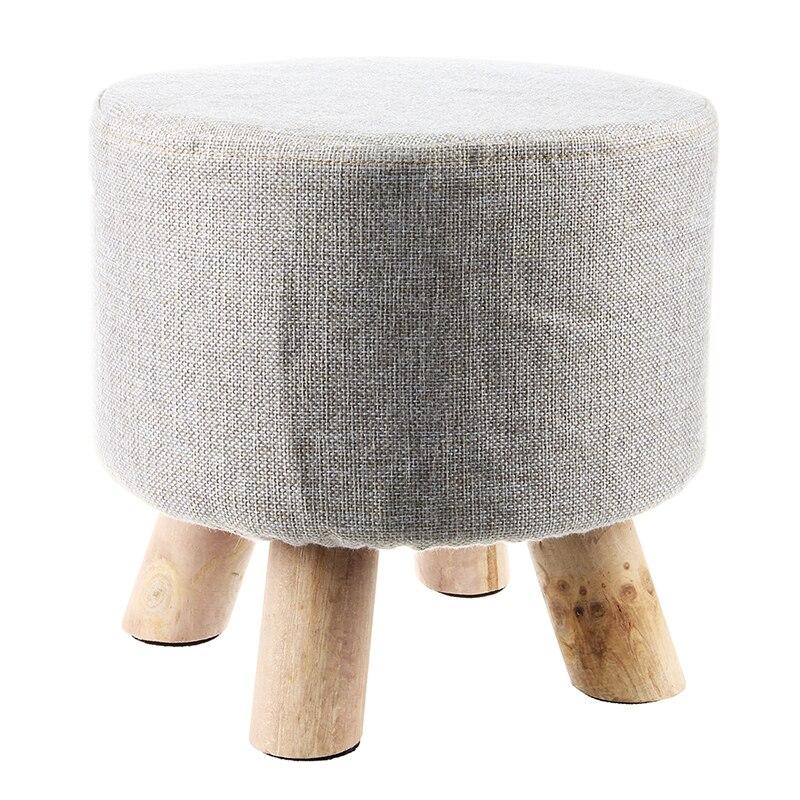 Modern Luxury Upholstered Footstool Round Pouffe Stool + Wooden Leg Pattern:Round Fabric:Grey(4 Legs)