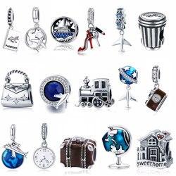 925 prata esterlina berloque casa da família torre eiffel câmera viagem sonho copo de café sapatos charme apto charme pulseira jóias diy