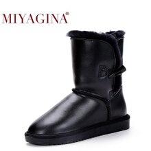 Botas de nieve de piel de vaca 100% auténtica para Mujer, zapatos de lana auténtica de invierno de piel Natural