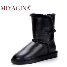 Bottes de neige en cuir de vache véritable, chaussures de qualité supérieure en fourrure naturelle, Botas Mujer, hiver, 100%