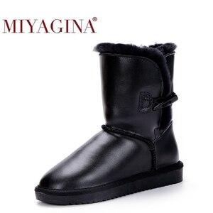 Image 1 - Top Kwaliteit 100% Echt Leer Snowboots Bont Botas Mujer Winter Echte Wol Schoenen Voor Vrouwen