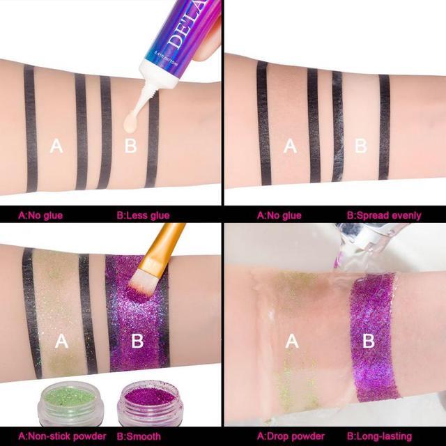 DELANCI Eye Makeup Primer Cream Sequined Primer Eye Lips Makeup Longlasting Glitter Waterproof Eyeshadow Glue Cosmetic TSLM2 1