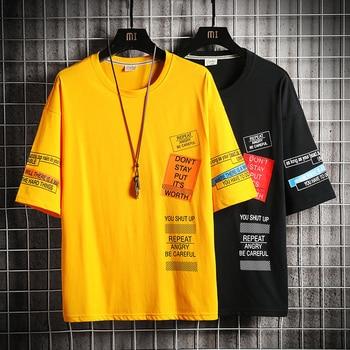2020 Hip Hop T Shirt Men letter print T-shirt Harajuku Streetwear Tshirt patchwork Short Sleeve Summer Tops Tee Back Printed letter print stepped hem tee