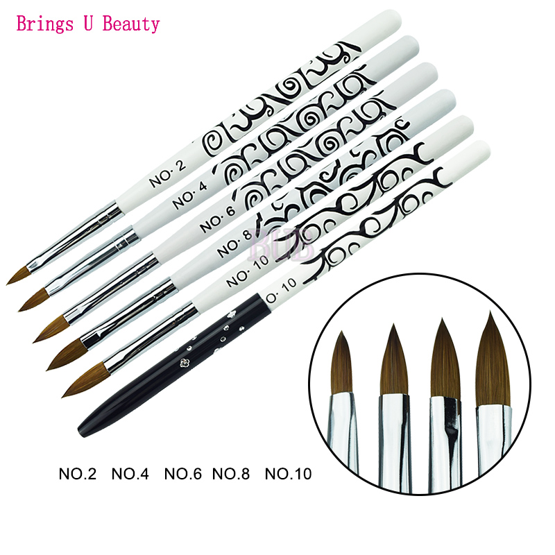 1pc No. 2/4/6/8/10 Kolinsky Sable Acrylic Nail Art Brush With Protection Cap UV Gel Builder Carving Pen Acrylic Liquid Powder