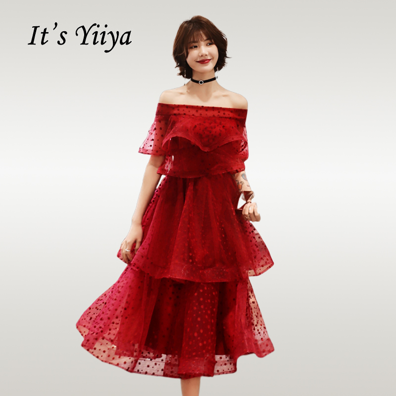 It'sYiiya   Cocktail     Dress   Elegant Boat Neck Tiered Hems Robe   Cocktail   Ruffles Short Plus Size   Cocktail     Dresses   E718