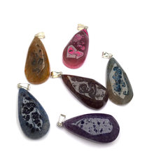 LE SKY Natural Stone Agates Pendant Water Drop Shape Rough Surface Pendants Cute Charms for Jewelry Making DIY Necklaces 20x45mm