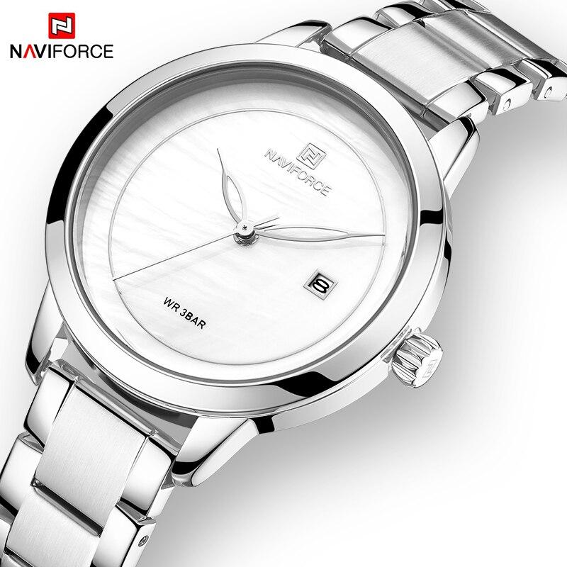 NAVIFORCE Women Watch Luxury Brand Fashion Simple Silver Quartz Date Watches Waterproof Wristwatch Lady Clock Relogio Feminino