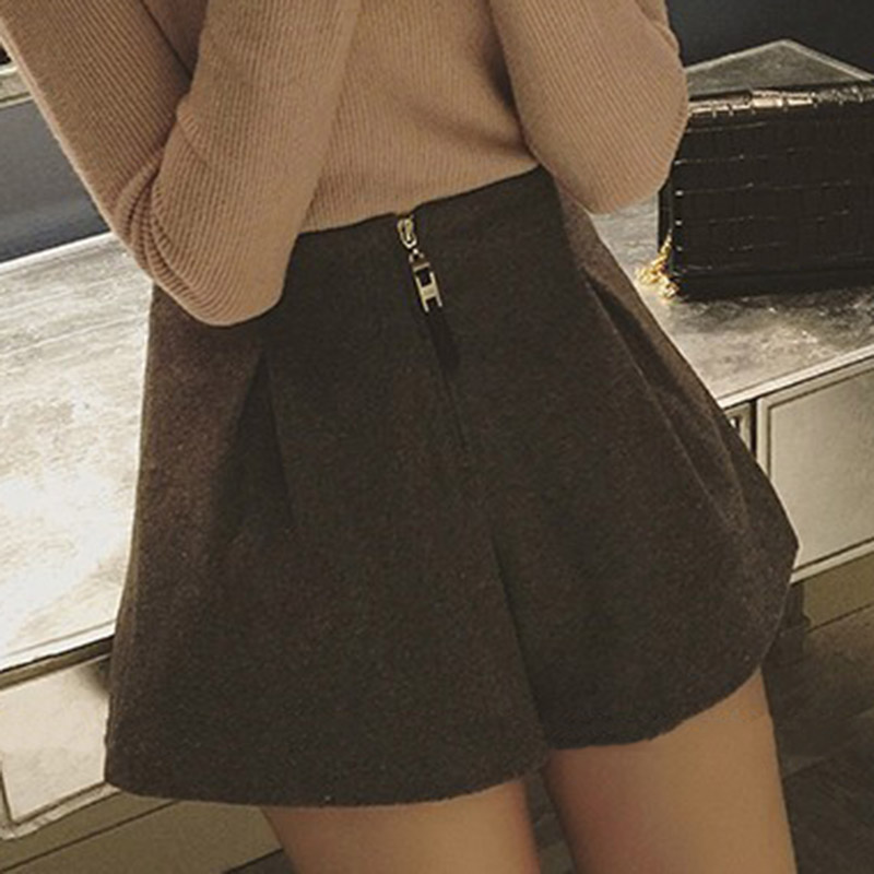 Women Woolen Wide Leg Shorts Loose High Waist Zipper Casual Solid Color Shorts QL Sale