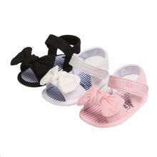 Pudcoco criança sandálias de bebê meninas verão sólida listra arco nó plana com 0-18 monthes crianças bonito adorável bowknot princesa sapatos