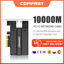 CF-P100 10Gb PCI-E Network Card AQC107 Chipset 2.5G/5G/10G PCIE-X4 Network adapter Fast Transmission Dongle for windows Linux