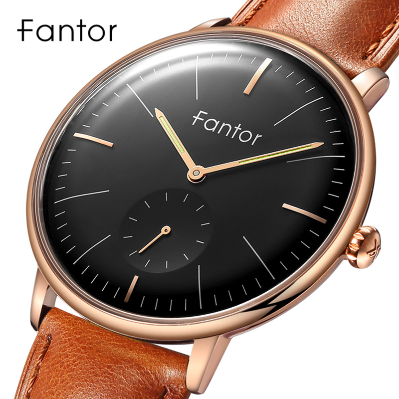Fantor Luxury Brand Watch Men Chronograph Quartz Wristwatch Men's Geniune Leather Waterproof Casual Classic Watches For Man