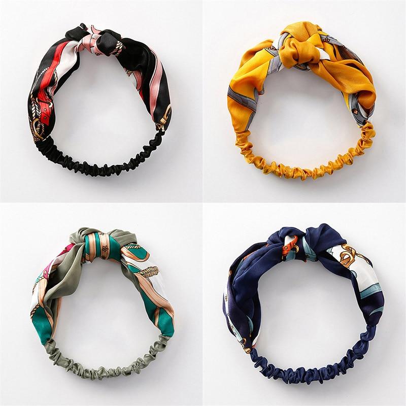 Drop Shipping 4pcs/Set Women Headband Floral Print Elastic Hair Bands Headwear Hair Accessories