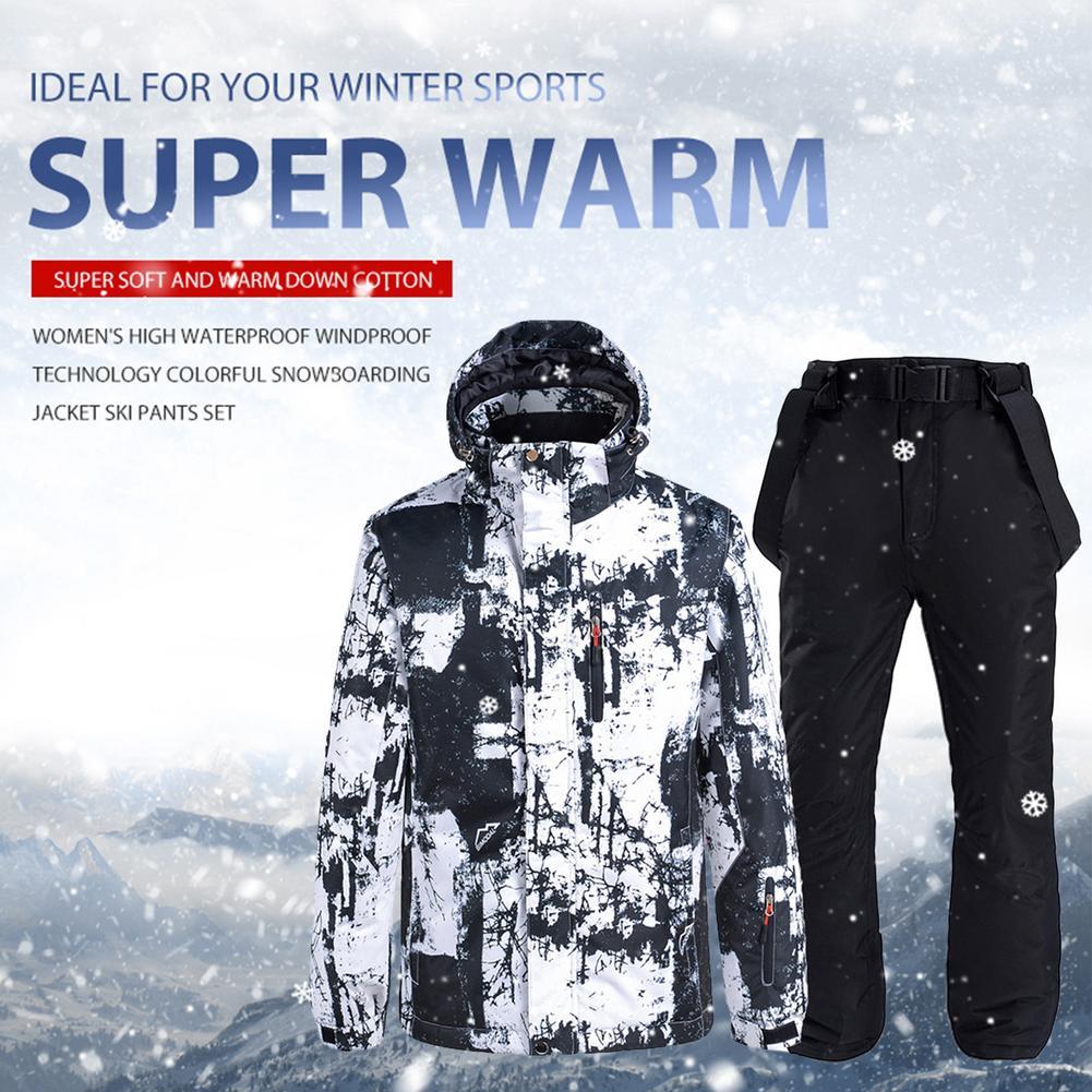 Зимние парные лыжные куртки женские дышащие Сноубординг комбинезон ветрозащитные водонепроницаемые теплые лыжные костюмы комплект зимни...