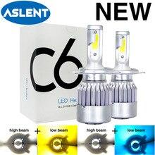 2X 새로운 C6 LED H4 2 색 6500K + 3000k 6500K + 8000K Hi/Lo H7 H1 H8 H11 9005 HB3 HB4 9006 전구 자동 조명 자동차 헤드 라이트 안개 램프