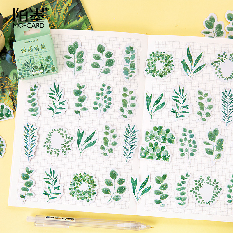 45pcs/set Fresh Leaves Mini Paper Sticker Decoration Stickers Diy Craft Diary Scrapbooking Planner Kawaii Label Sticker