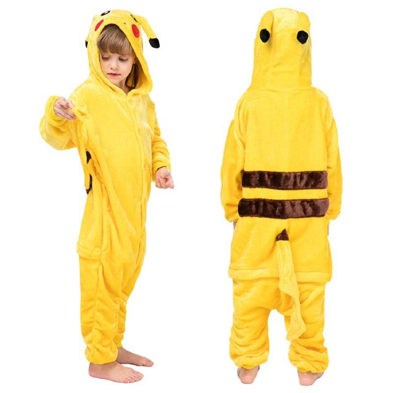 Enfants Pikachu pyjamas garçon fille dessin animé Animal Cosplay Pyjama Onesie 4 6 8 10 12 ans enfants polaire Kigurumi vêtements de nuit à capuche
