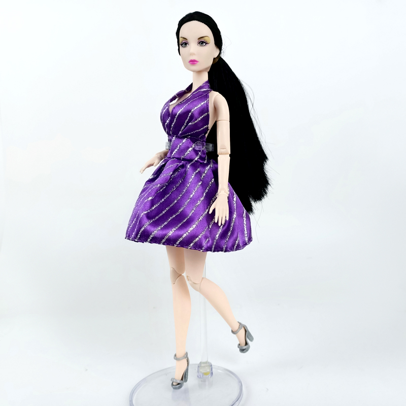 """Purple Evening Party Dress for 11.5/"""" Doll Outfits V-Neck Outfit Clothes Kids Toy"""