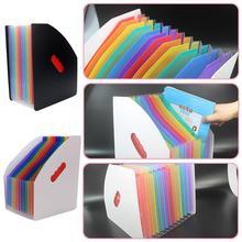 13 Pocket File Storage Organ Bag A4 Rainbow Color File Organizer Office Supplies