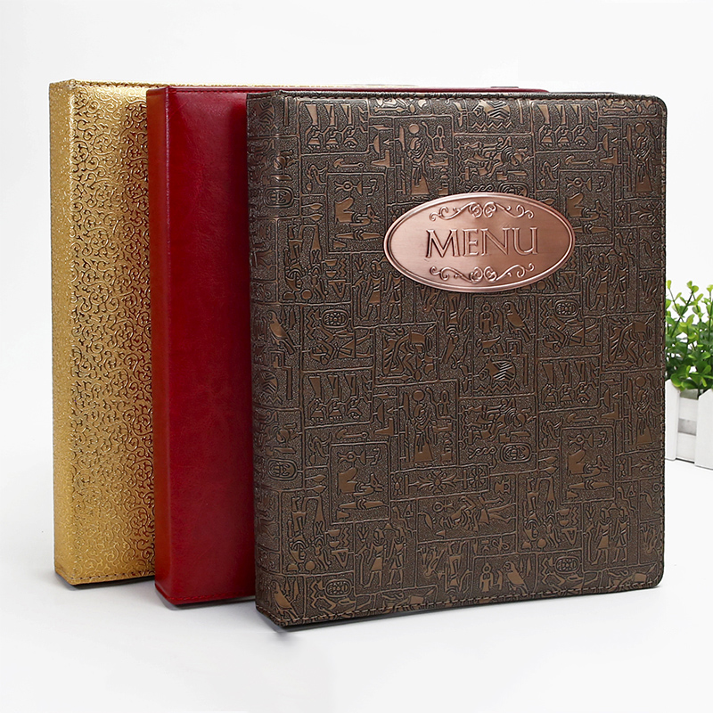 A4 PU Leather Leather Binder Menu Design And Production Of Customized High-end Insert Menu, Hotel Restaurant Price List