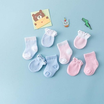 Cotton Newborn Infant Baby Girls Boys 2 Pairs Socks +2 Pairs Lace Anti-Scratch Anti-slip Gloves Blue /Pink 4 Pairs Hot o