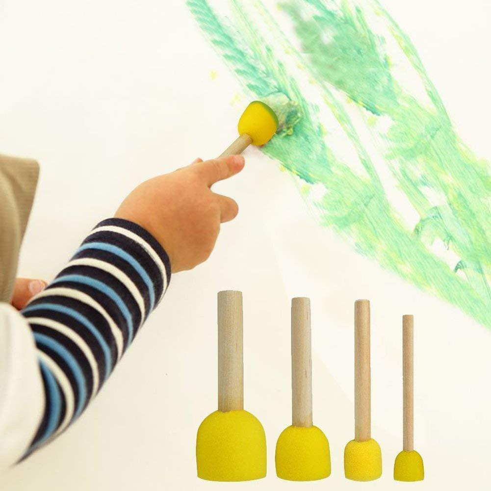 40Pcs/Set Round Foam Sponge Paint Brush Kids DIY Drawing Tools Painting Toy New