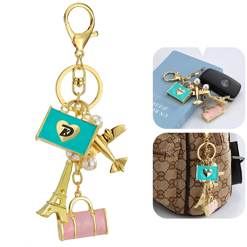 Trendy Keychain Travel Bag Airplane Eiffel Tower Key Ring For Women Gift Unique Cute Crystal Key Chain Jewelry image